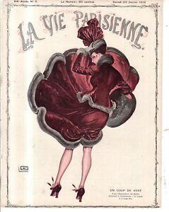 1916 La Vie Parisienne Original Windy French cover Art by Leonnec - Art Deco