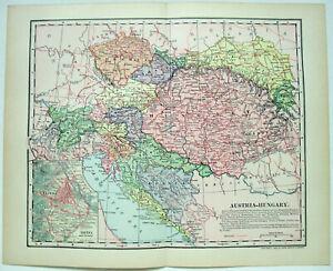 Original 1902 Map of Austria Hungary by Dodd Mead & Company. Antique