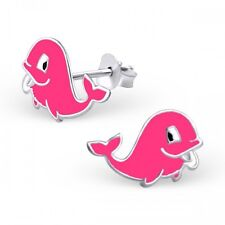 Childrens Girls Sterling Silver Pink Whale Stud Earrings - Boxed
