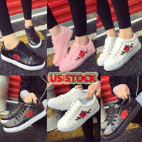 Fashion Women's  Casual Straps Sports Running Sneakers Embroidery Flower Shoes