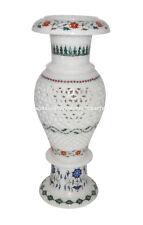 Marble Flower Vase Real Gemtone Mosaic Floral Inlay Pietradura Decor Gifts H1371