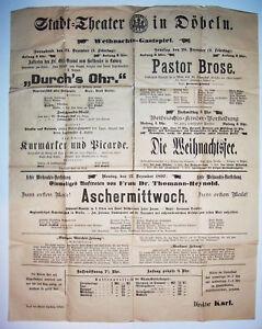 Aushang Plakat Stadttheater Döbeln 1897 Die Weihnachtsfee Aschermittwoch ! (D