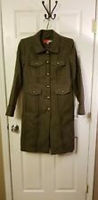 Boden Women's Army Green Wool Military Inspired Long Trench Coat SZ 8