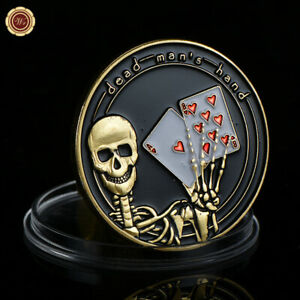 WR Poker Guard Card Cover Dead Man's Hand / Skeleton Gold Foil Coin Chip Gifts