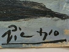 Pablo Picasso Original rare art vintage oil painting hand signed Not a print NR!