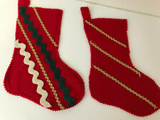 2 Vintage Handmade Christmas Felt Stockings Holiday Decor Red Green Gold