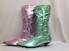 New Womens Ladies Green Pink Long Leg Riding Boots Pull On Low Heel UK Sizes