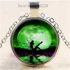 Tinkerbell With Moon Cabochon Glass Tibet Silver Chain Pendant Necklace