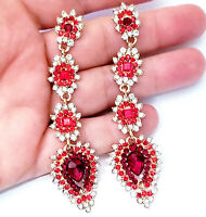 Chandelier Earrings Rhinestone Crystal Red 3.5 inch
