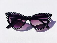 NEW BLACK POLKA DOT CAT EYE SUNGLASSES * PARTY HOLIDAY FESTIVAL DANCE FUN 50's