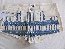Paige Denim Cut Off Shorty Mini Shorts -Echo Park Ecru Nomad -Size 28 - NWT $139