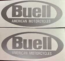 Buell Oval Decals. Silver. Set of two.