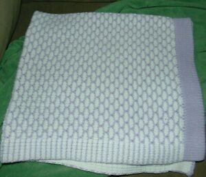 Pottery Barn Kids Purple White Sweater Knitted Blanket Heavy Plush