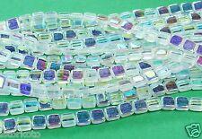 50 CzechMates Two Hole 2-Hole Tile Glass Beads Crystal AB 6mm