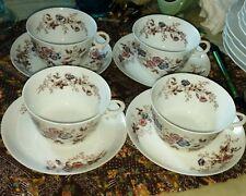 Antique Tressemanes & Vogt (TV) Limoges #85 Cups &Saucers (4) Hand Painted