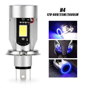 H4 9003 HB2 Motorcycle Headlight 2600LM LED Bulb Hi/Lo Beam W/ Blue Halo Ring