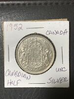 1952- Silver Canadian 50 Cent Coin