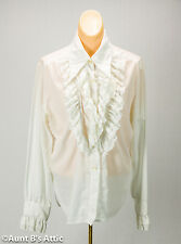 Pirate Blouse White Vintage 70's Ladies Ruffled Front Blouse Size Medium