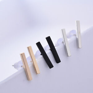 1/3Pair Minimalist Surgical Steel Silver Thin Dainty Bar Stick Line Stud Earring