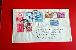 INDONESIA  : Airmail Cover, multi franking MALANG to CA/USA ('57)