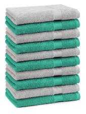 Betz Lot de 10 serviettes débarbouillettes Premium: vert émeraude & gris argenté