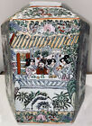 """Antique Chinese Qing Dynasty Hand Painted Hexagon  Rose Porcelain 9"""" Vase Marked"""
