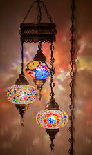 Plug In 3 Globes Turkish Mosaic Swag Ceiling Hanging Lamp Chandelier Light wPlug