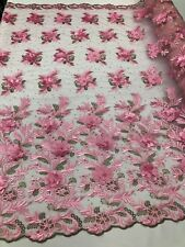 3D Flowers Embroidered On A Mesh Lace Pearls With Rhinestones Candy Pink By Yard