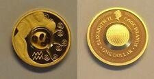 2003 Cook Is. Gold plated Silver w/Gemstones $1 Zodiac- Aquarius/Garnets
