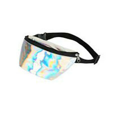 80s 90s Style Bright Silver Holographic Bum Bag