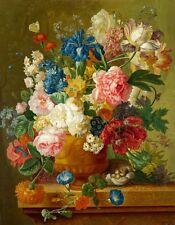 Huge Oil painting paulus theodorus van brussel - Roses flowers in a vase canvas