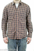 STEVEN ALAN Orange Plaid Reverse Seam Inside Pocket Long Sleeve Shirt NEW $188