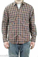 STEVEN ALAN Orange Plaid Reverse Seam Inside Pocket Long Sleeve Shirt NEW $188