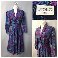 Vintage Solo Purple Mix Floral Dress UK 14 EUR 42 Made in England