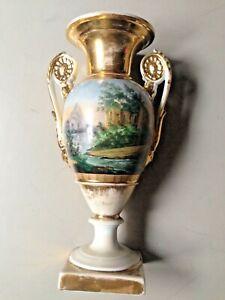 Antique Vieux Paris Porcelain Vase French Landscape