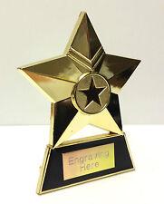 Gold Metal Star Trophy + FREE Engraving