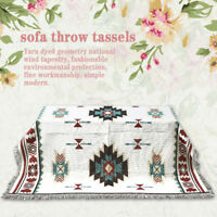Geometric Bohemian Sofa Throw tassels Rug Cover Lounge Couch Blanket Sheet Chair