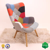 Birlea Sloane Multi Colour Patchwork Armchair Sofa - Scandinavian Vintage Retro