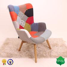 Birlea Sloane Multi Colour Patchwork Armchair Sofa - Scandinavian Vintage Retro