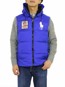 Polo Ralph Lauren Big Pony Hooded Puffer Down Vest w/USA Patch - Sapphire