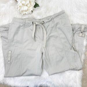 Columbia Women Roll-up Capri Pants Sz PM Beige Draw Cord Pockets Hiking Fishing