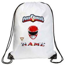 Personalised Kids Power Rangers  Drawstring Bag School, Swimming, PE, Gymsac