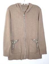NWT $129 Chico's Zenergy Cotton Cashmere Embellished Jacket, Taos Taupe