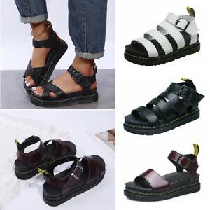 Womens Flatform Summer Ankle Strap Sandals Chunky Platform Fashion Shoes Size UK