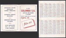 CALENDARIETTO 1953 SEMESTRINO - COLOMBO MILANO Articoli BAGNO e CUCINA calendar