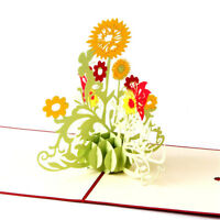 Sunflower love 3D Pop UP laser cut Paper Greeting Cards thank you card HU