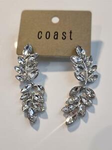 Coast Longline Crystal Leaf Design Earrings