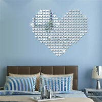 100PCS 3D Heart-Shaped Mirror Sticker Art Decal Wall Decals Home Decor Removable