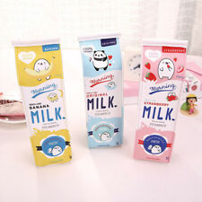 Creative Simulation Of Milk Cartoon Pencil Case Cute PU Pen Bag Stationery