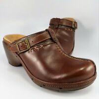 Clarks Unstructured Split-Toe T-Strap Clogs/Mules Womens Size 6M Brown Leather